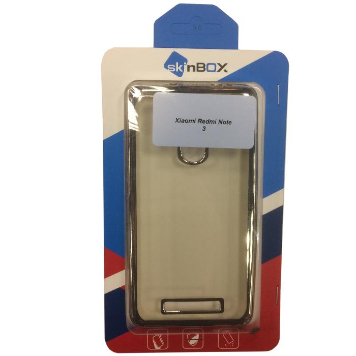 Чехол SkinBox 4People silicone chrome border для Xiaomi Redmi Note 3, серебристый