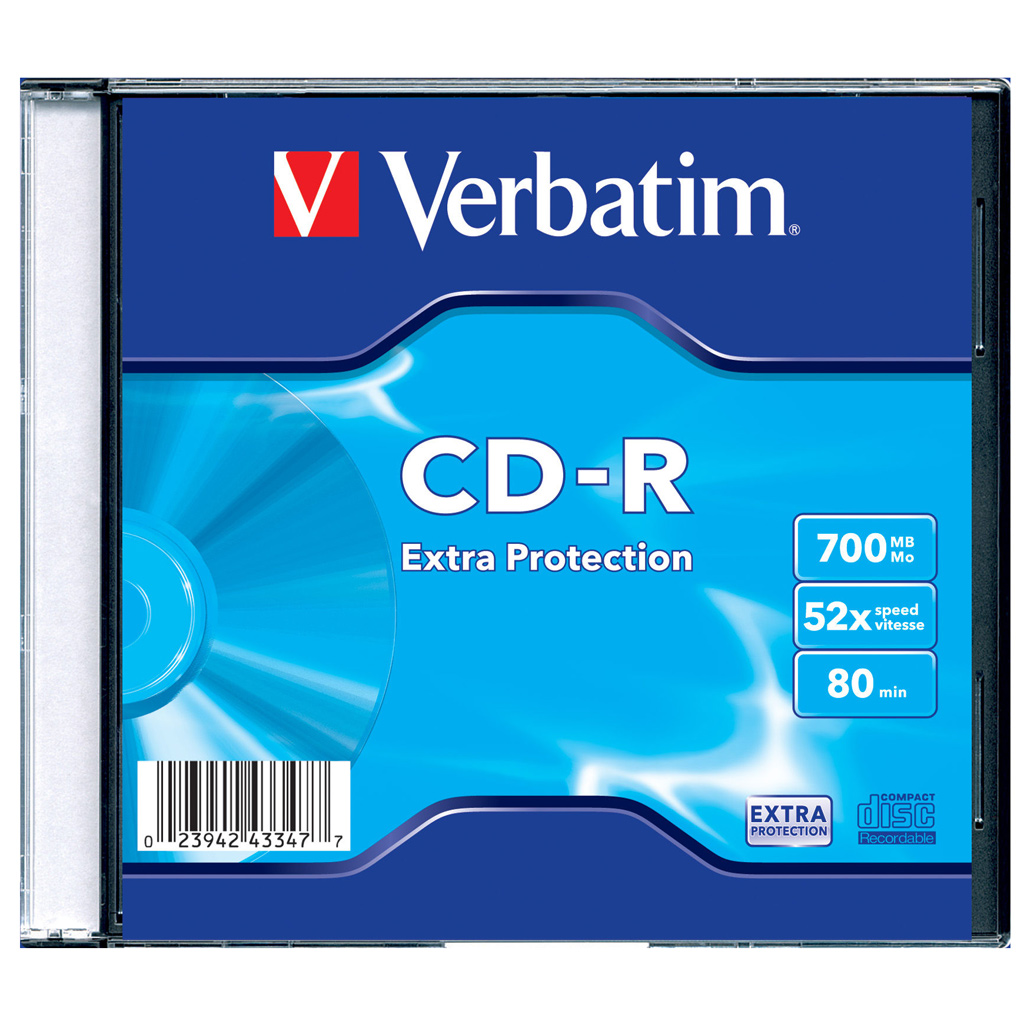 Оптический диск CDR Verbatim DL 700Mb 52x Slimcase