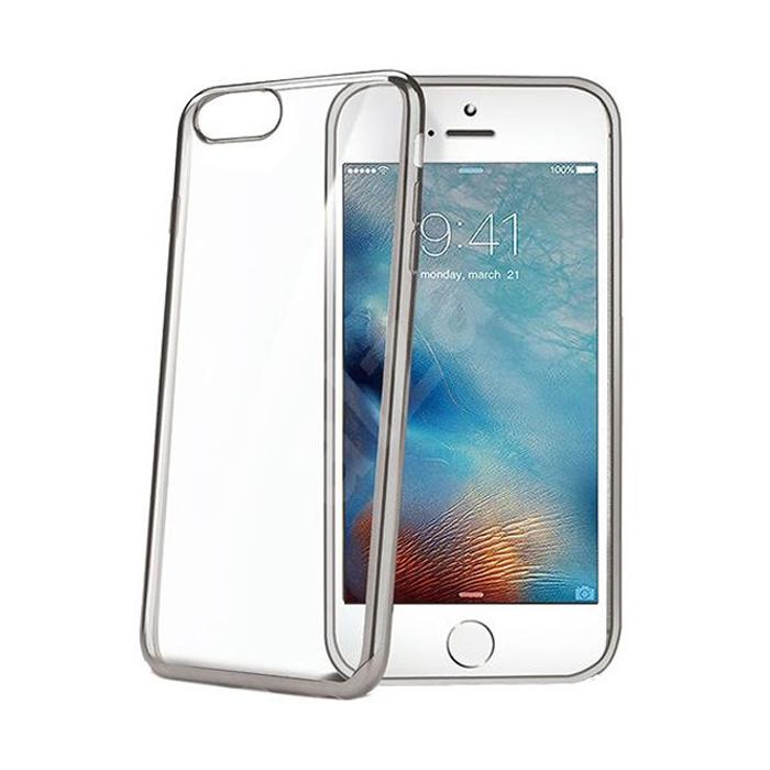 Чехол Celly Laser для iPhone 7 Plus, прозрачный, темно-серый кант