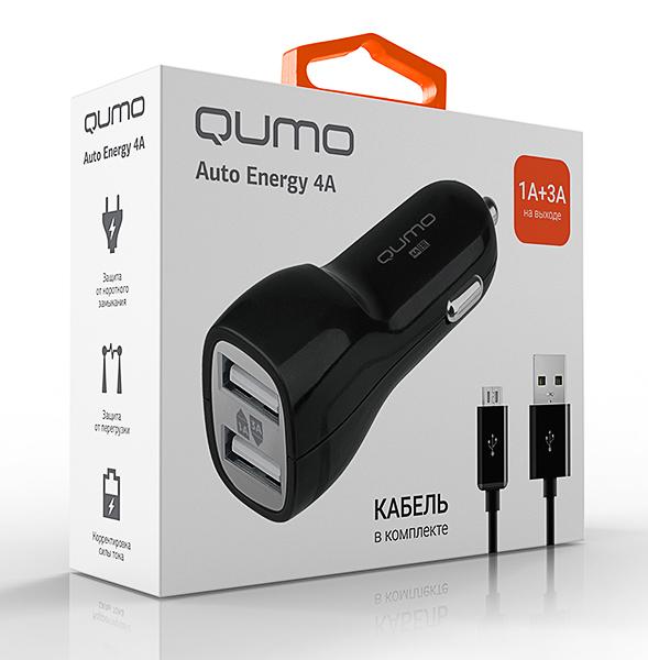 Зарядное устройство автомобильное Qumo 4.0A 2USB(1A+3A), micro USB черный (20735)