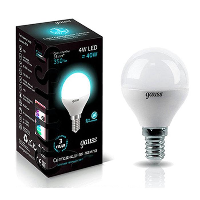 Светодиодная LED лампа Gauss Globe E14 4W 220V белый свет