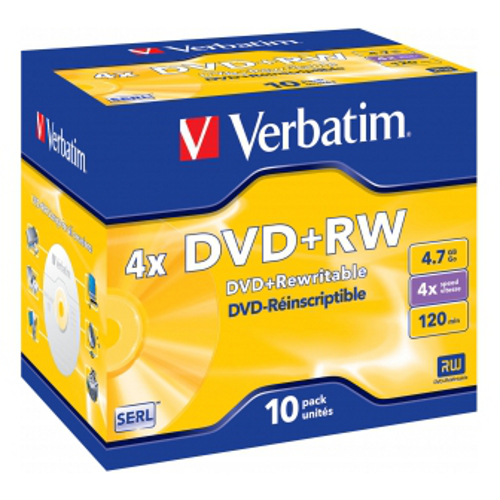 Оптический диск DVD+RW Verbatim 4,7Gb 4x Jewel Case 43246 10шт