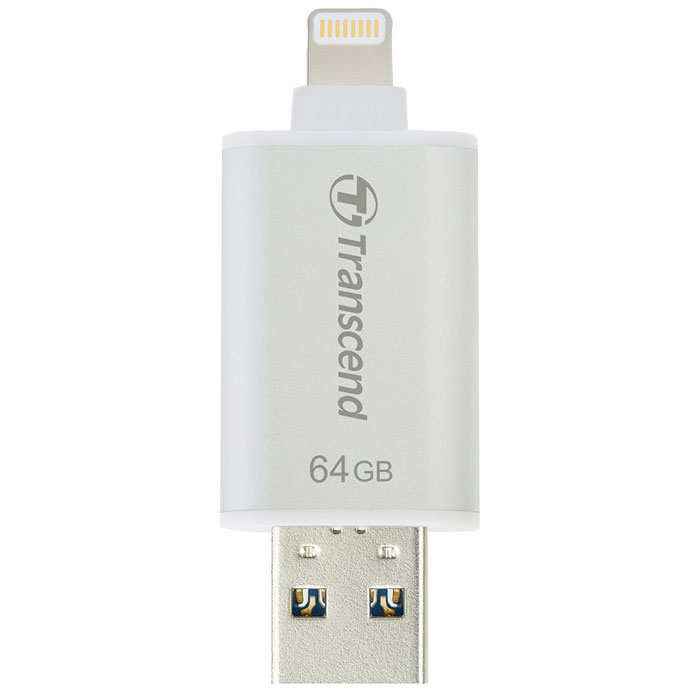 Флеш-диск 64Гб Transcend JetDrive Go 300 для Apple iPhone 55SiPhone 66 PlusiPad с разъемом Lightning MFI серебристый