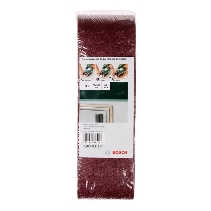 Набор шлифлент по дереву Bosch 75×533мм 80 зерно 3шт 2609256218