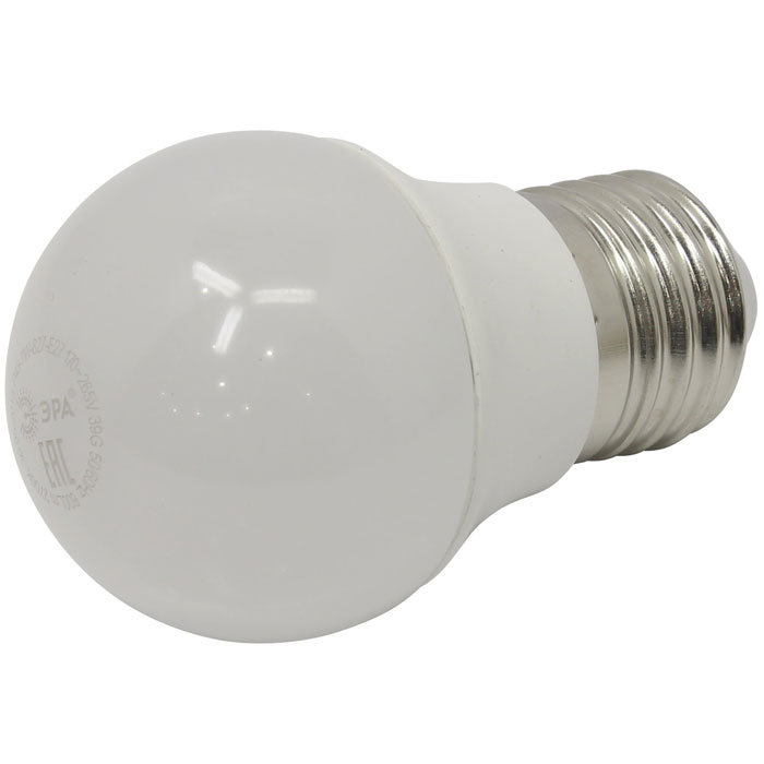 Светодиодная лампа ЭРА P45 E27 7W 220V белый свет