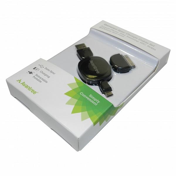 Кабель USB-MicroUSB с переходником iPhone4, черный, 60см, AvantreeCGUS-SET-06