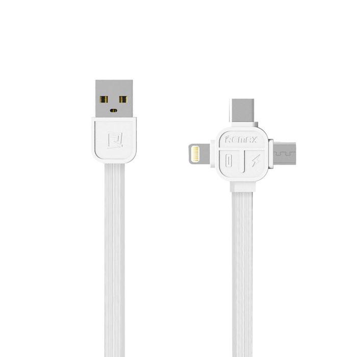 Кабель 3 в 1 с разъемом Apple Lightning/micro-USB/Type C 1м REMAX RC-066TH белый