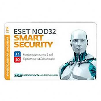 Антивирус Eset Software Nod32 Smart Security + Bonus — лицензия на 1 год на 3ПК или продление на 20 месяцев ( Nod32-ESS1220-CARD-1-1 )
