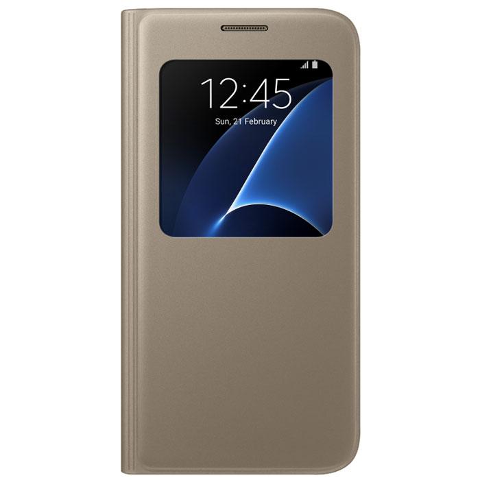 Чехол Samsung S View Cover для Samsung G930F Galaxy S7, золотистый