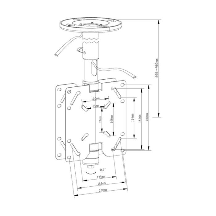 Кронштейн для ТВ Kromax COBRA-2 потолочный Vesa до 200×200 17-50′ max 60кг gray