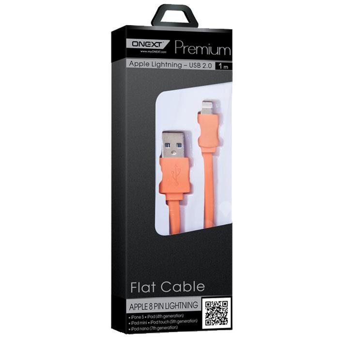Кабель для iPhone 5 / iPhone 6 /iPad Lightning Onext 1м плоский, оранжевый
