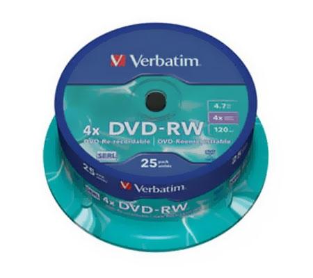 Оптический диск DVD-RW Verbatim 4.7ГБ 4x cake box ( 43639 ) 25 шт.