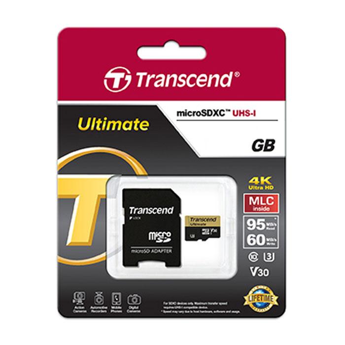 Флеш-карта microSDHC 64Гб Transcend Ultimate, Class 10 UHS-I (U3) V30 ( TS64GUSDU3M ) адаптер SD