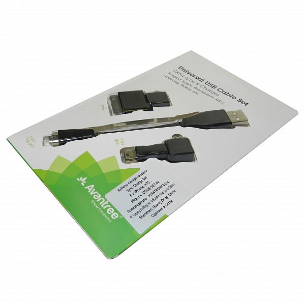 Кабель USB-MicroUSB с переходниками miniUSB и iPhone4, черный, 13см, AvantreeCGUS-SET-04