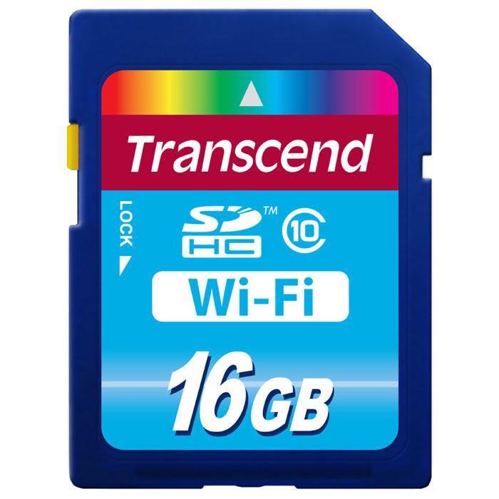 Флеш-карта SDHC 16Гб Transcend , Class 10 ( TS16GWSDHC10 ) + Wi-Fi