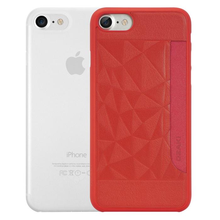 Чехол Ozaki O!coat 0.3 Jelly и O!coat 0.3 Pocket для iPhone 7, два чехла в наборе, прозрачный и красный