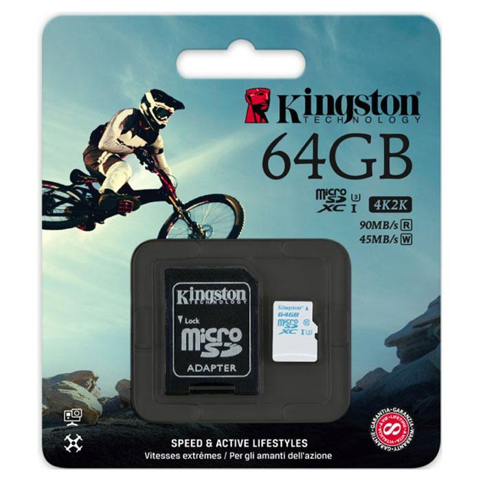 Флеш-карта microSDXC 64Гб Kingston , UHS-1, U3, Class 10 ( SDCAC/64GB ) адаптер SD