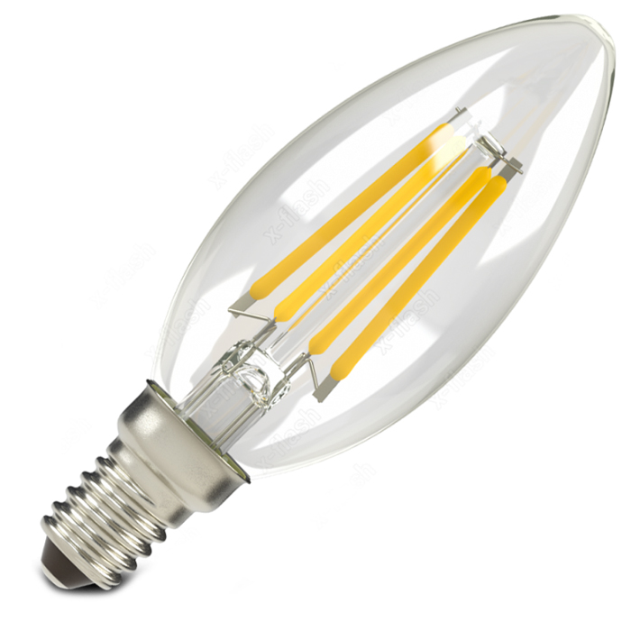 Светодиодная LED лампа X-flash Candle E14 4W 220V желтый свет, филамент