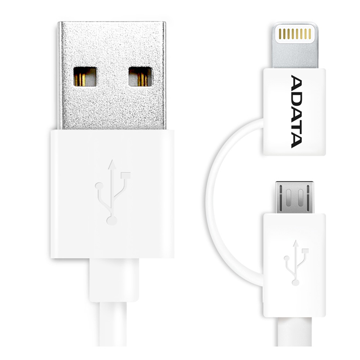 Дата кабель USB-MicroUSB/Lightning MFI A-Data 1м белый