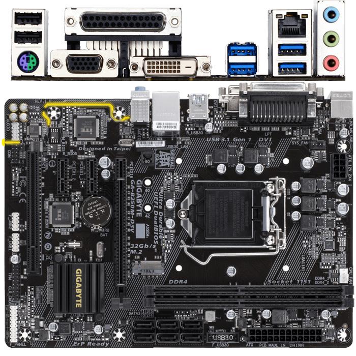 Материнская плата Gigabyte B250 LGA1151 DDR4 ( GA-B250M-D3V ) mATX, Ret
