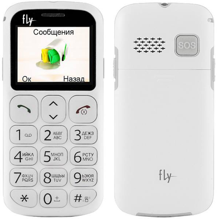 Сотовый телефон с большими кнопками Fly Ezzy 7 White