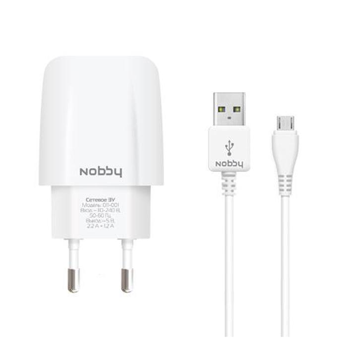 Зарядное устройство сетевое Nobby Comfort 011-001 micro USB кабель 1.2м, 3.4A, 2xUSB белый