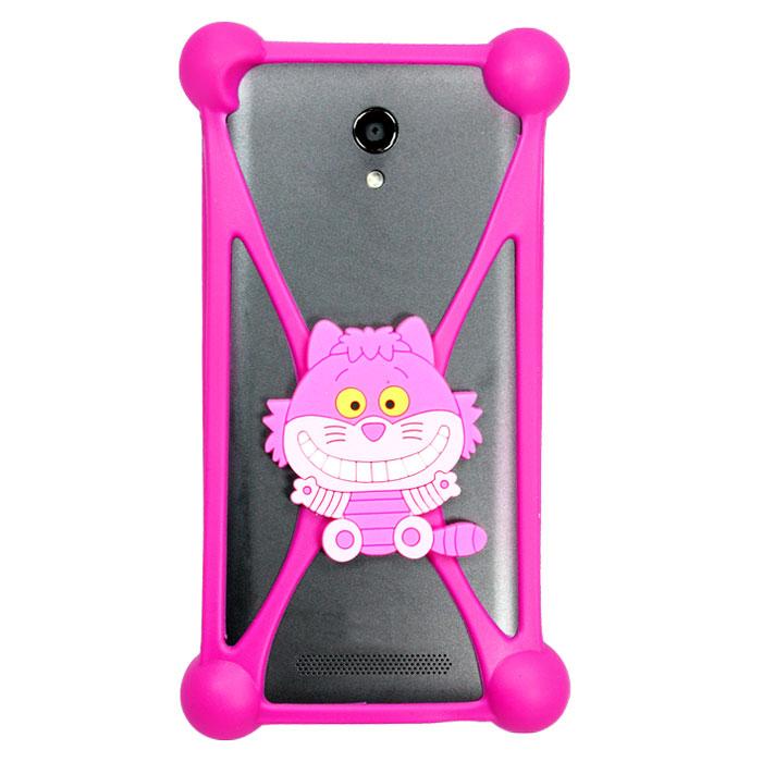 Чехол универсальный для сотовых телефонов 3.5-5.5″ Partner бампер, кот, розовый