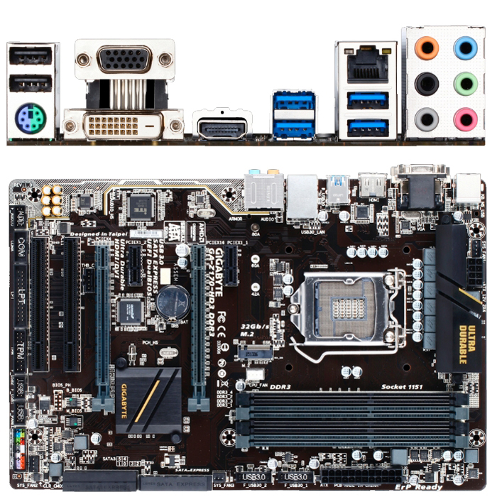 Материнская плата Gigabyte H170 LGA1151 4xDDR3 ( GA-H170-HD3 DDR3 ) ATX, Ret