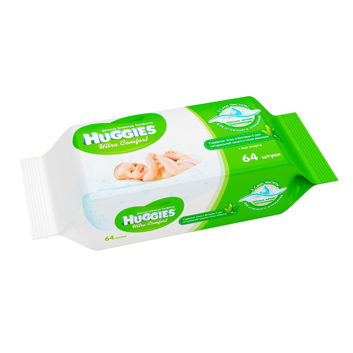 Салфетки Huggies Ultra Comfort Aloe (64шт)
