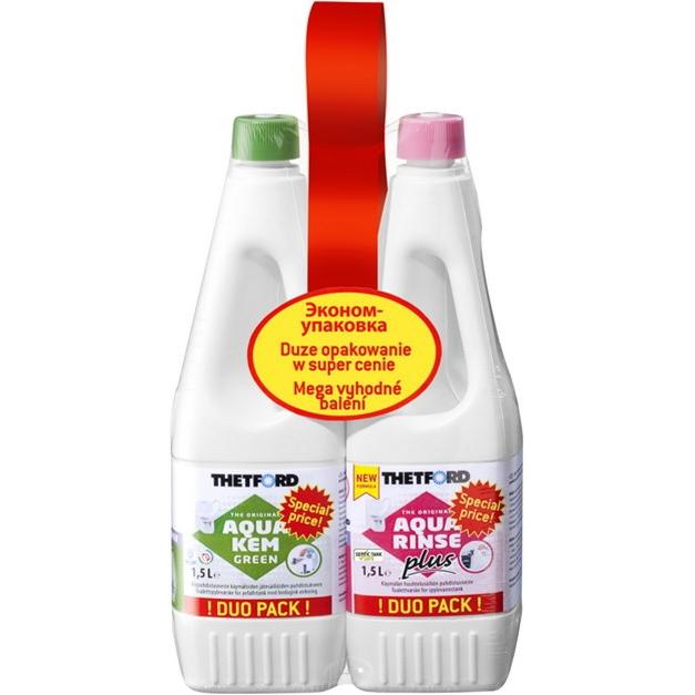 Набор жидкостей для биотуалета Thetford Duopack Aqua Kem Rinse + Aqua Kem Green 1,5л