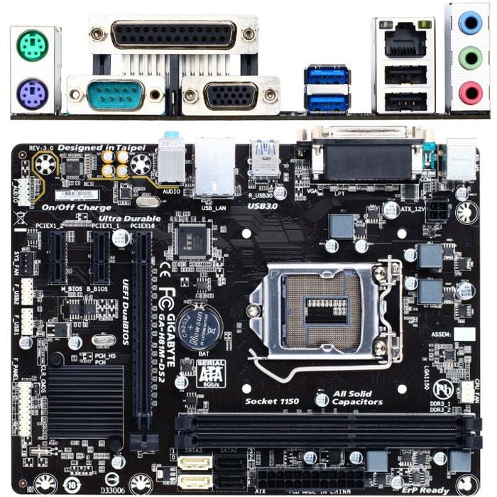 Материнская плата Gigabyte H81 LGA1150 DDR3 ( GA-H81M-DS2 ) mATX