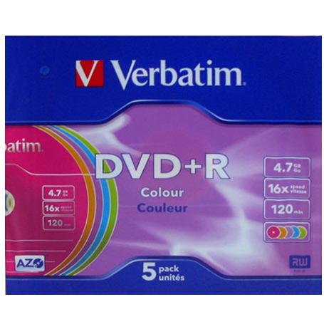 Оптический диск DVD+R Verbatim 4,7Gb 16x Color SlimCase (43556) 5шт