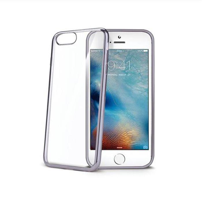 Чехол Celly Laser для iPhone 7, прозрачный, темно-серый кант