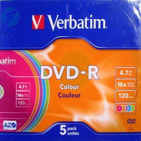 Оптический диск DVD-R Verbatim 4.7ГБ 16x slim case, color ( 43557 ) 5 шт.