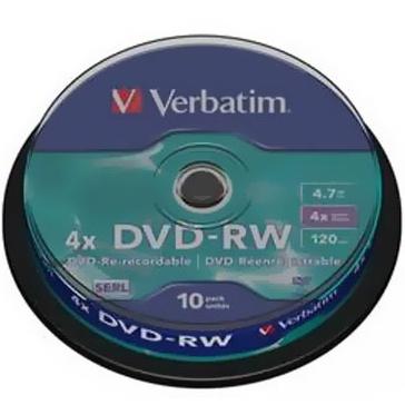 Оптический диск DVD-RW 4.7Gb Verbatim 4x Cake Box (43552) 10шт