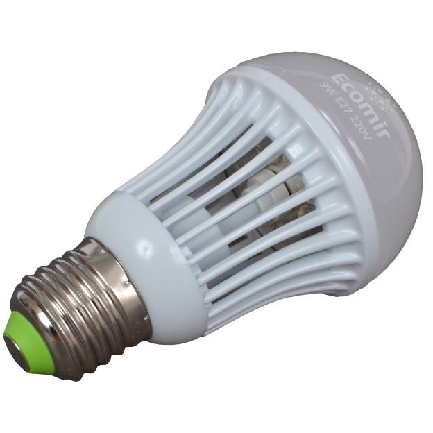 Светодиодная LED лампа ECOMIR E27 9W 220V 42944 желтый свет, матовая