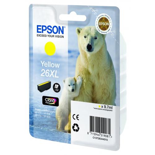 Картридж EPSON C13T26344010 Yellow для XP-600/605/700/800 увеличенный
