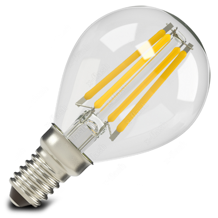 Светодиодная LED лампа X-flash P45 E14 4W 220V желтый свет, филамент