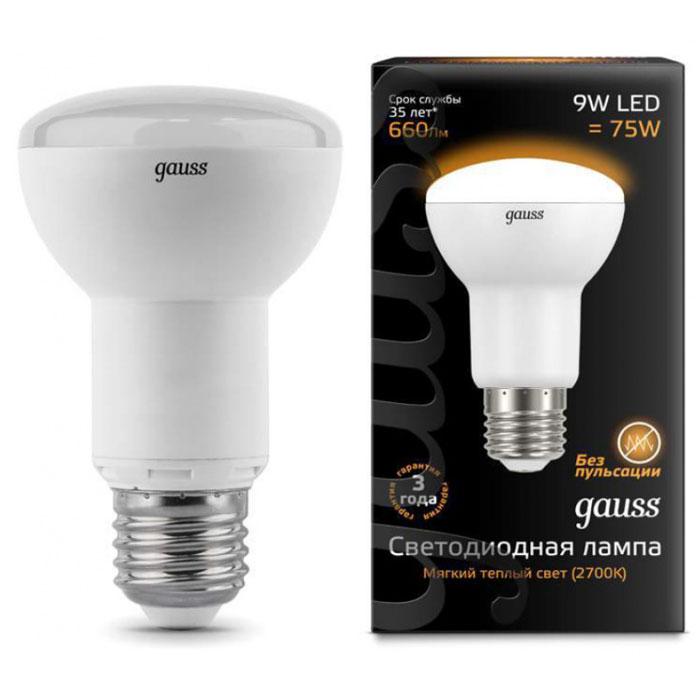 Светодиодная лампа Gauss Reflector R63 E27 9W 220V желтый свет