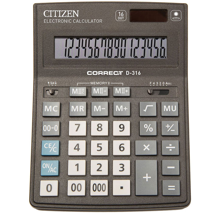 Калькулятор Citizen Correct D-316, 16 разрядов