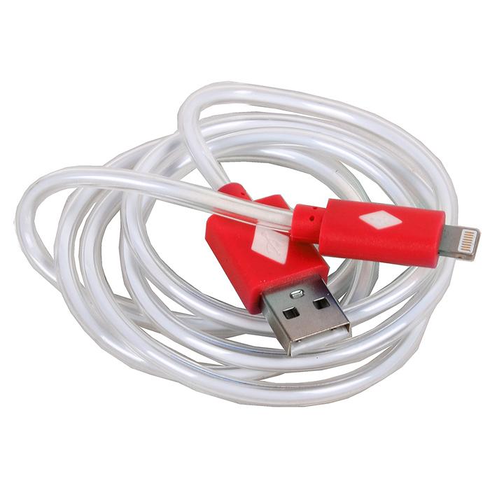 Кабель для iPhone 5 / iPhone 6 /iPad Lightning MFI 3Cott, светящийся, красный