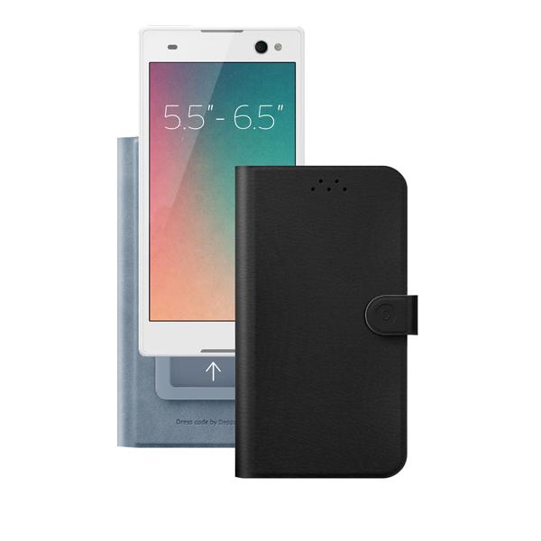 Чехол универсальный для сотовых телефонов 5.5″-6.5″ Deppa Flip Wallet, черный