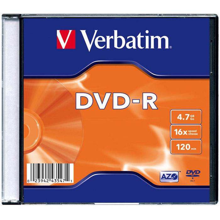 Оптический диск DVD-R Verbatim 4,7Gb 16x SlimCase (43547) 20шт