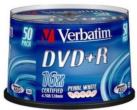 Оптический диск DVD+R Verbatim 4,7Gb 16x CakeBox (43550) 50шт