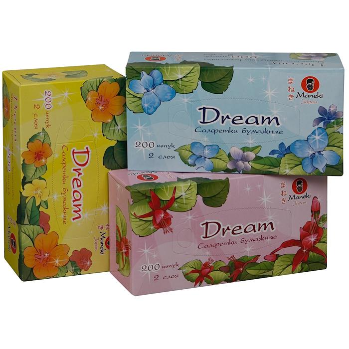 Бумажные салфетки Maneki Dream белые 2 слоя 200шт кообка