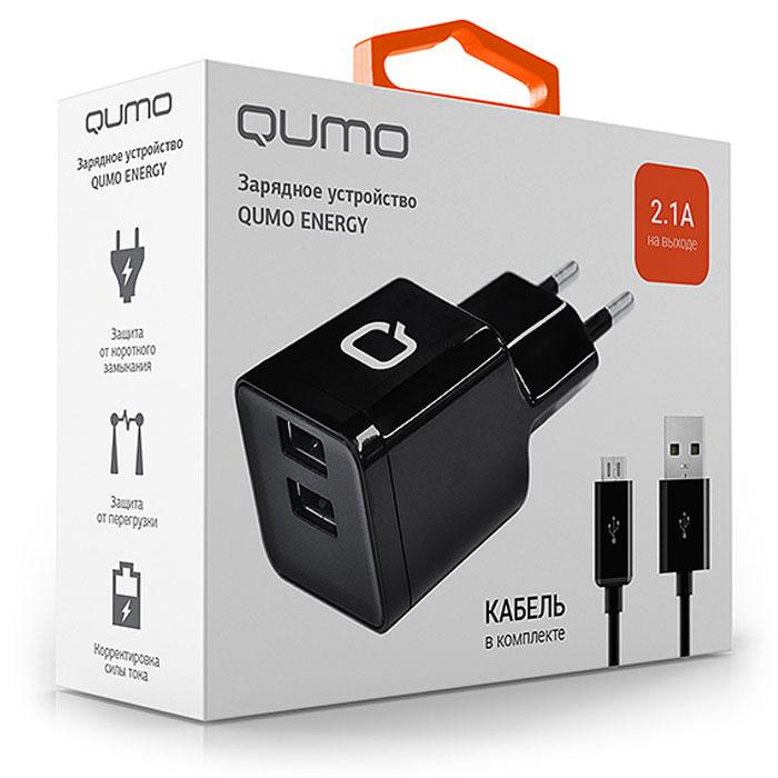 Зарядное устройство сетевое Qumo Energy 2xUSB 2.1A, кабель в комплекте, черное