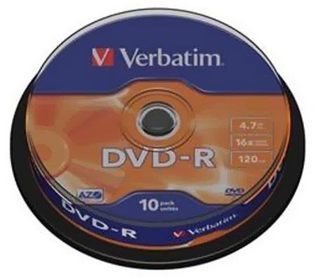 ОПтический диск DVD-R Verbatim 4,7Gb 16x CakeBox (43523) 10шт