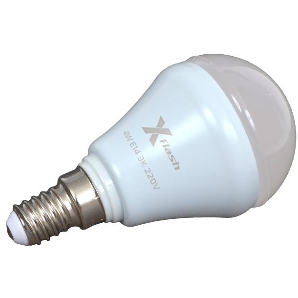 Светодиодная LED лампа X-flash Mini E14 4W 220V желтый свет, матовая колба