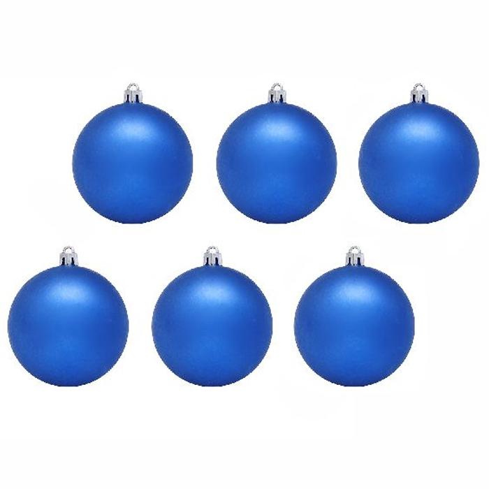 Нов игрушка шар пластик блест.d=6см  6шт в пакете синий