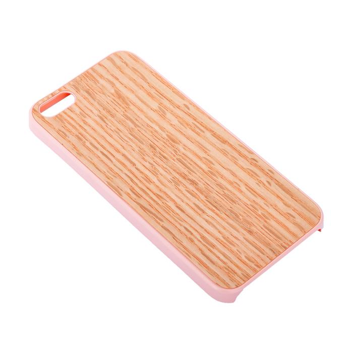 Чехол для iPhone 5 / iPhone 5S Ozaki O!coat 0.3 + Wood, бежевый с розовым